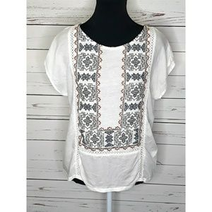 Lucky Brand | Boho stitched side ruched white top